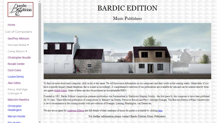 Inverurie Website Design bardic edition music publishers website