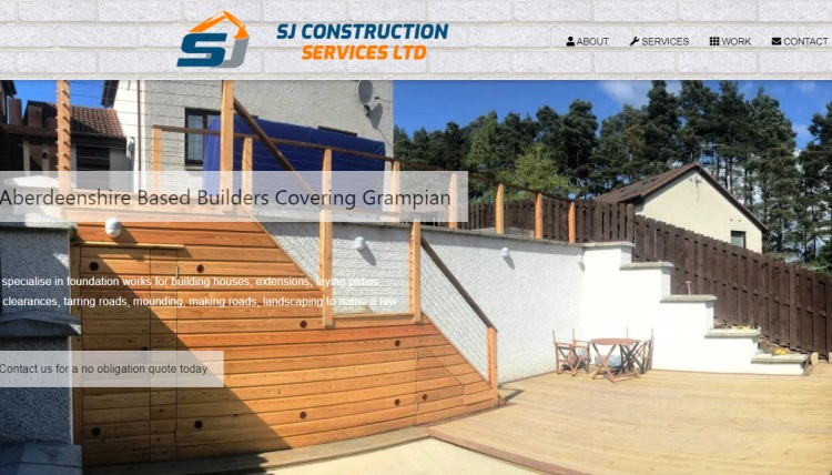 SJ Construction Services website, Alford, Aberdeenshire